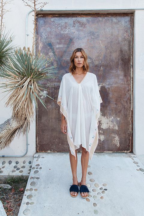 Two is a collection of caftans, tunics and dresses made from handwoven fabrics. Two is available at Barneys New York