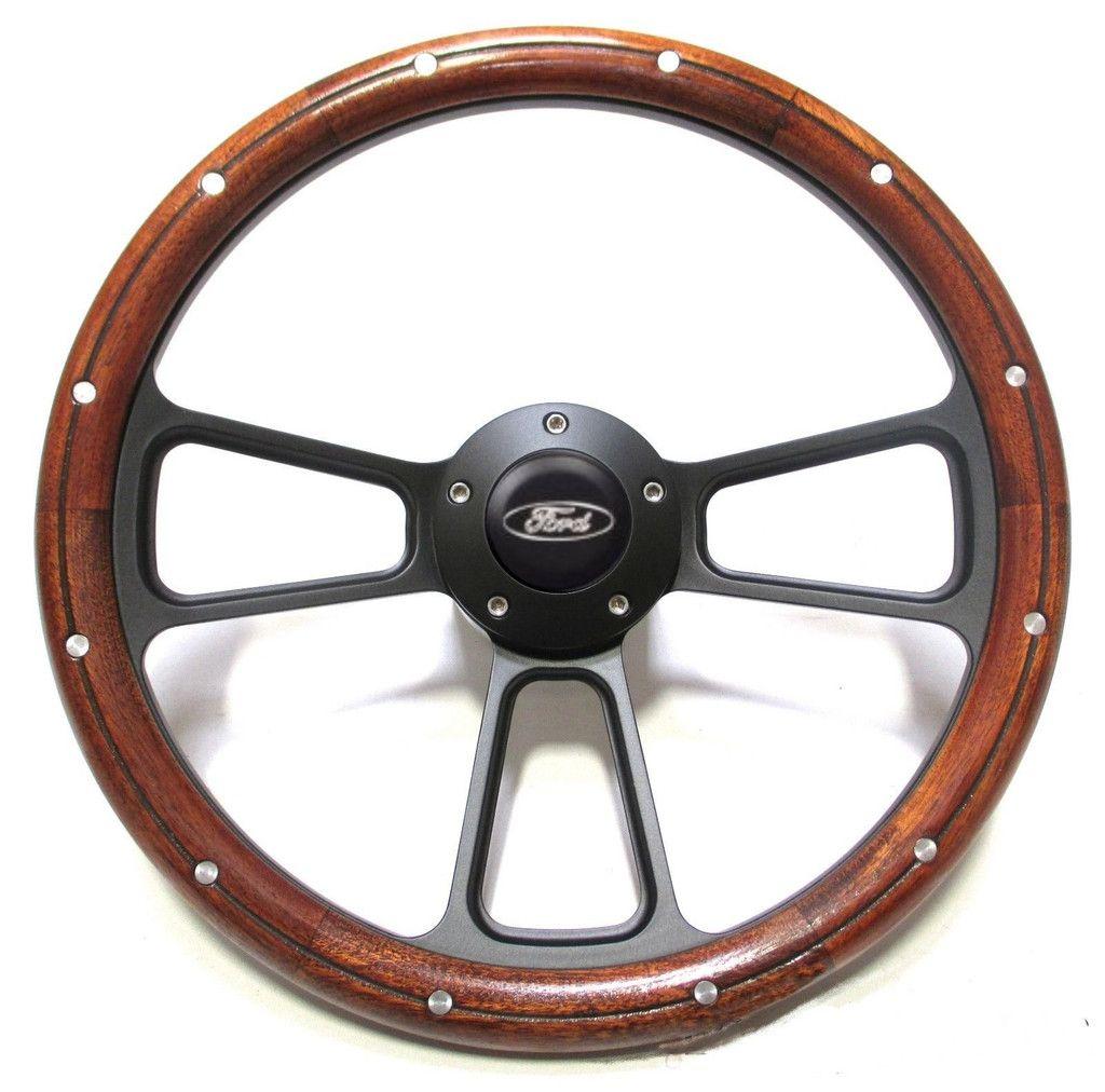 Ididit Billet /& Alder Wood Hot Rod Steering Wheel for Flaming River GM Column