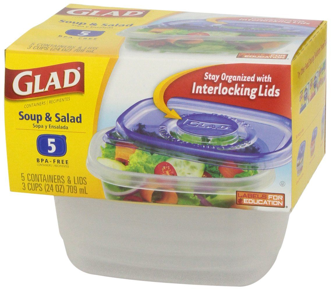 Gladware Soup And Salad Food Storage Containers 24 Oz 5 Ct Amazonfresh Salad Container Plastic Food Containers Delish Com