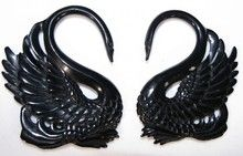 Swan black gauged ear taper