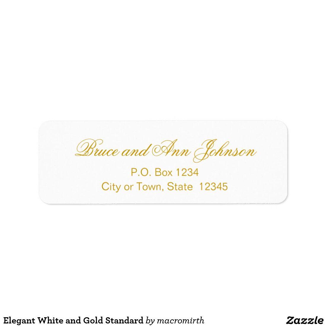 Elegant White and Gold Standard Custom Return Address Labels. Customizable.