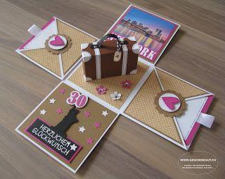 berraschungsbox explosionsbox geschenkgutschein geldgeschenk reise geburtstag koffer amerika. Black Bedroom Furniture Sets. Home Design Ideas
