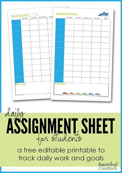 Assignment Sheet For Students Free Printables Homeschool Lesson Planner Assignment Sheet Homeschool Lesson Plans