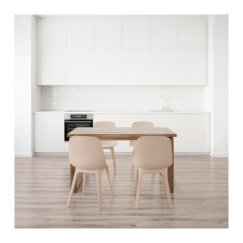 Table et 4 chaises MÖRBYLÅNGA / ODGER brun blanc, beige | D ...