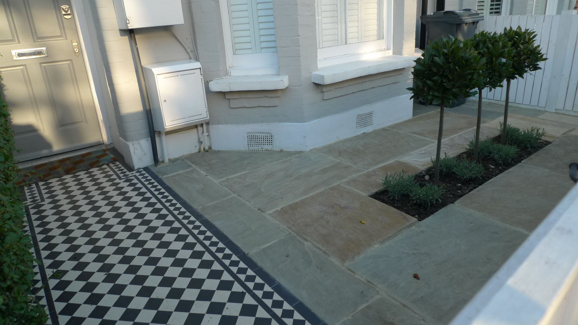 front garden victorian mosaic tile garden path sandstone paving formal topiary bay tree planting balham clapham - Front Garden Design Victorian Terrace