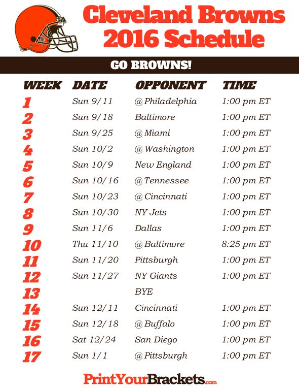 graphic relating to Cleveland Browns Printable Schedule named Cleveland Browns Routine - 2016 Printable NFL Schedules