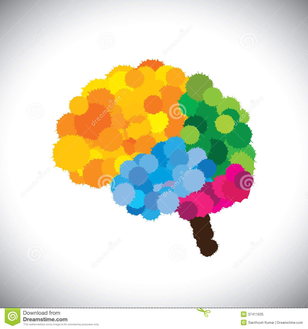 vectoriconcreativebrilliantcolorfulpaintedbrain