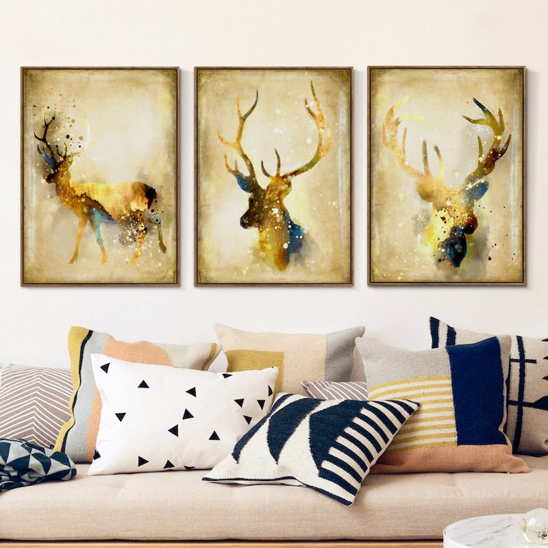 Bianche Wall Watercolor Nordic Luxury Gold-Colored Deer A4 Canvas ...