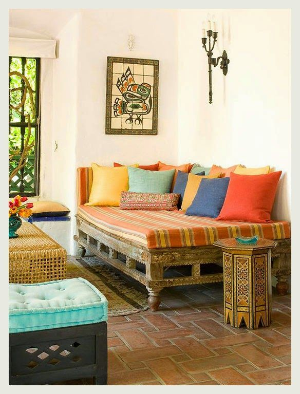 Colorful indian homes interiors house and living rooms for Living room designs indian style