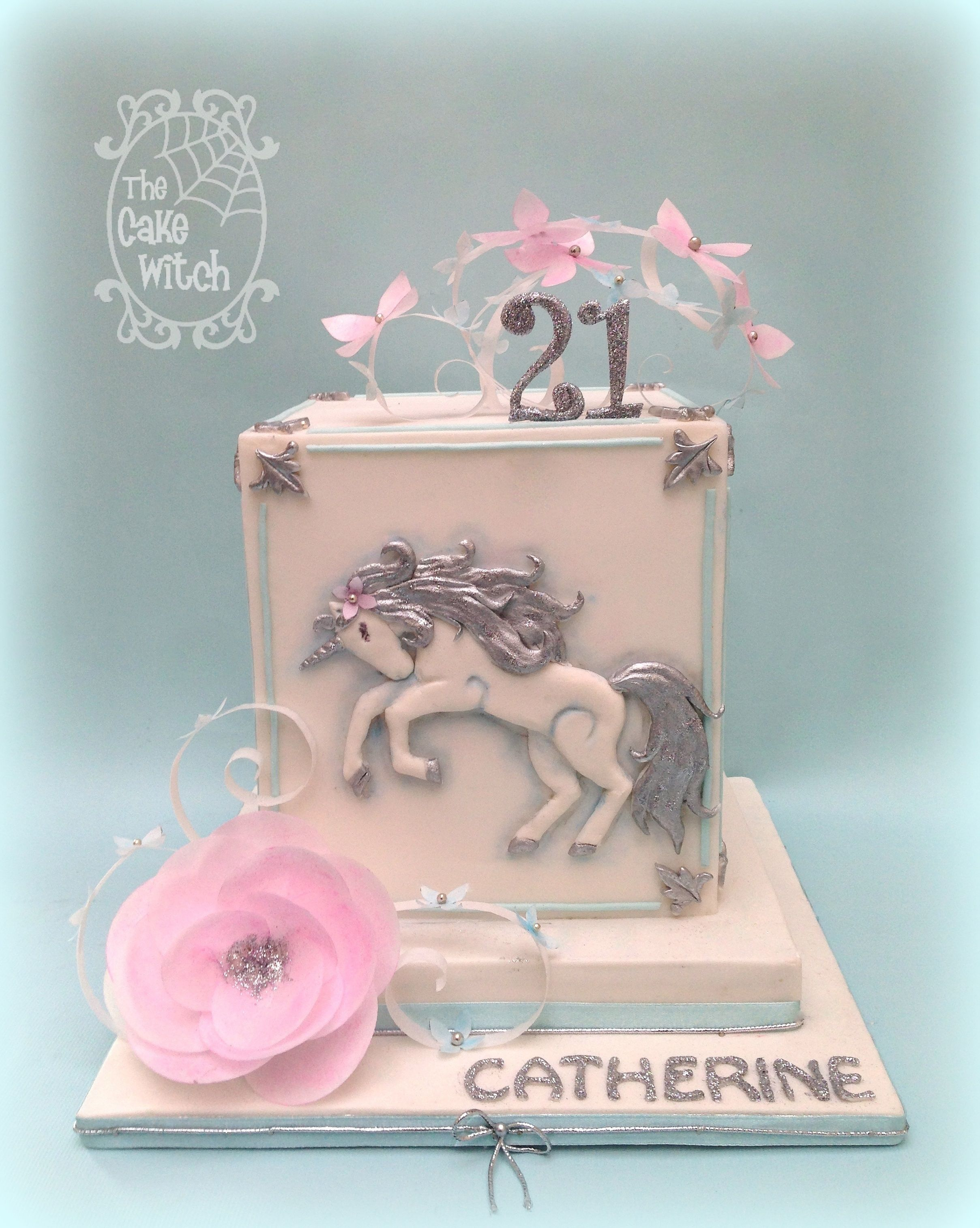 Square Unicorn 21st Birthday Cake Wafer Paper Flowers Pink Silver
