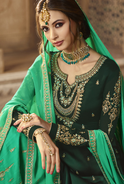 19b361d442 Dark Green and Aqua Sharara Salwar Kameez - Desi Royale | Suits for ...