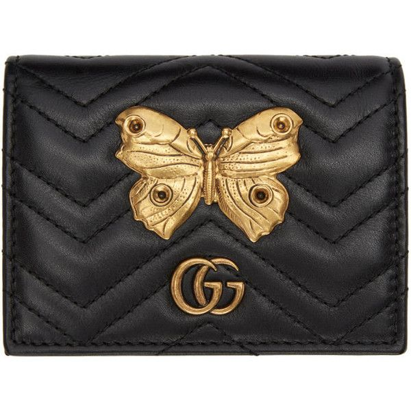 02f682e8cdd9 Gucci Black GG Marmont 2.0 Compact Wallet ($515) ❤ liked on Polyvore  featuring bags, wallets, black, gucci, coin purse, bifold wallets, change  purse and ...