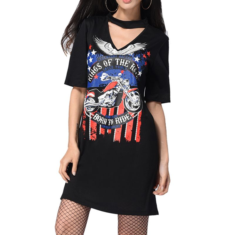 Summer Sexy Floral Black Dress Short Sleeve Leisure Club Party