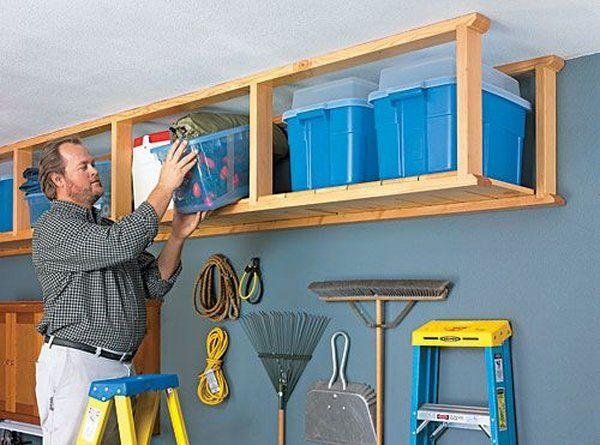 DIY overhead garage storage ideas wooden frames storage boxes garage – Homemade Overhead Garage Storage Plans