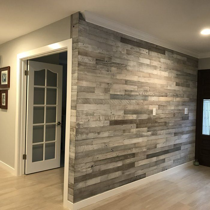 "Faux Wood Accent Wall Wayfair: 3"" Reclaimed Peel And Stick Solid Wood Wall Paneling"