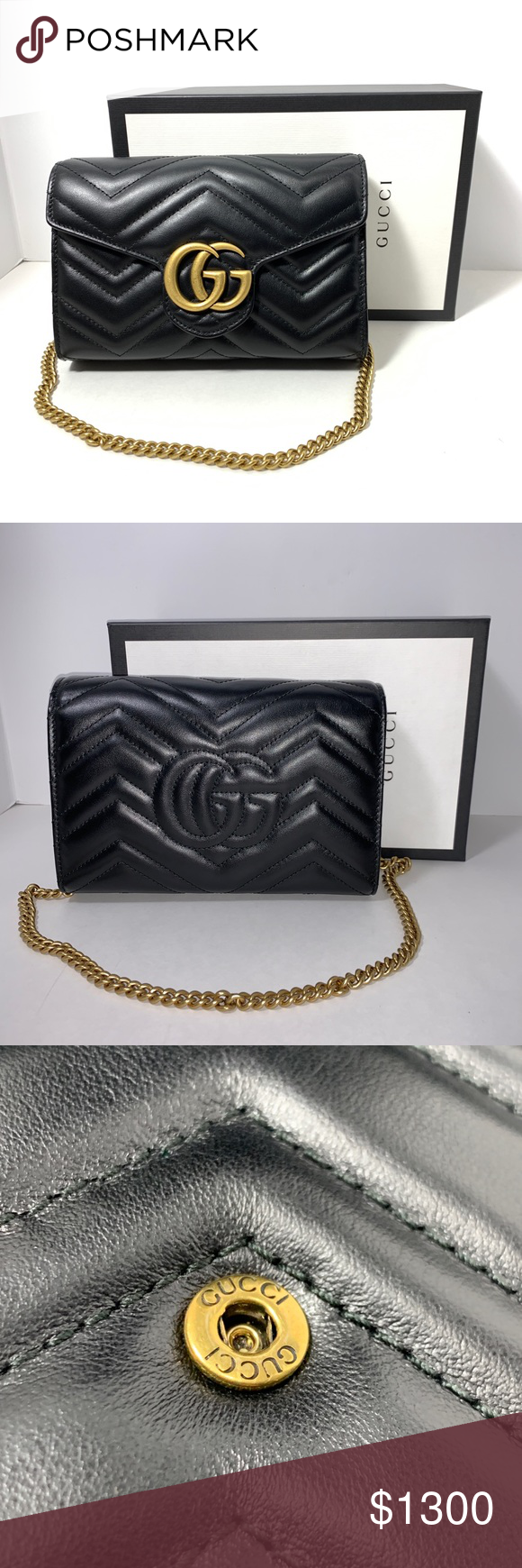 00c466c98 NEW GUCCI GG Marmont Matelassé Wallet On A Chain Notable for its  exceptional versatility, this