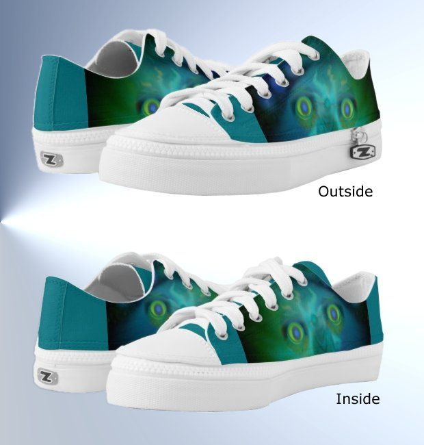 Unisex Green and White Sneakers with Digital Art Creature: 'Moon Freak'
