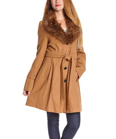 263ef08c29 Another great find on  zulily! Camel Faux Fur-Collar Fit   Flare Coat by Steve  Madden  zulilyfinds