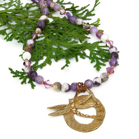 Chevron Amethyst Braided Necklace