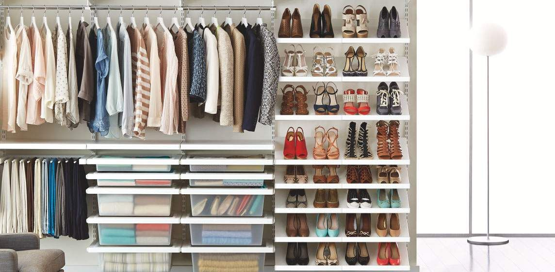 The Container Store Closet Systems White Elfa Decor Deluxe Closet  Organized  Pinterest  Closet