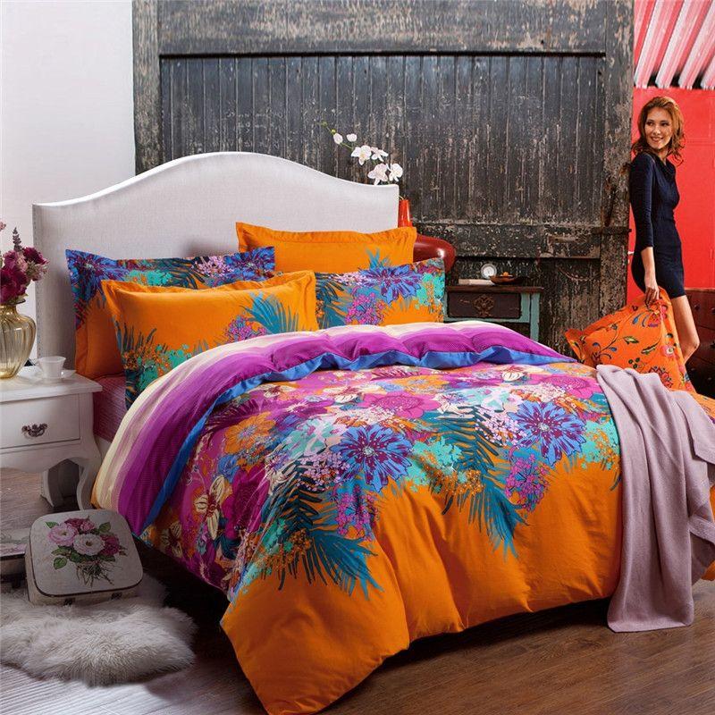 Funky Bright Color Summer Scene 100% Cotton Bedding Sets | Bedding ...