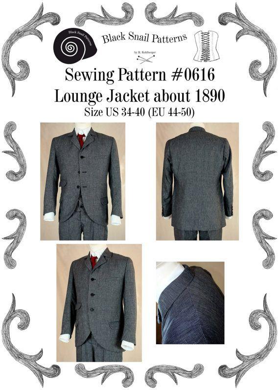 Edwardianische Lounge Jacket um 1890 Schnittmuster #0616 Größe EU 44 ...