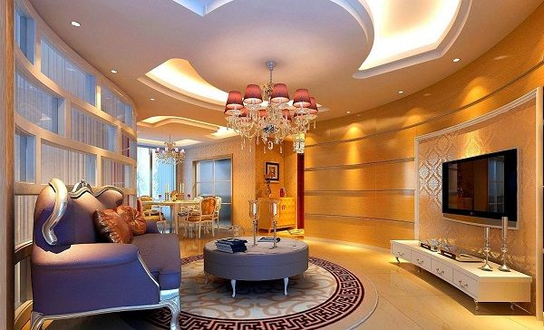 Luxury pop ceiling designs for living room with purple sofa sets