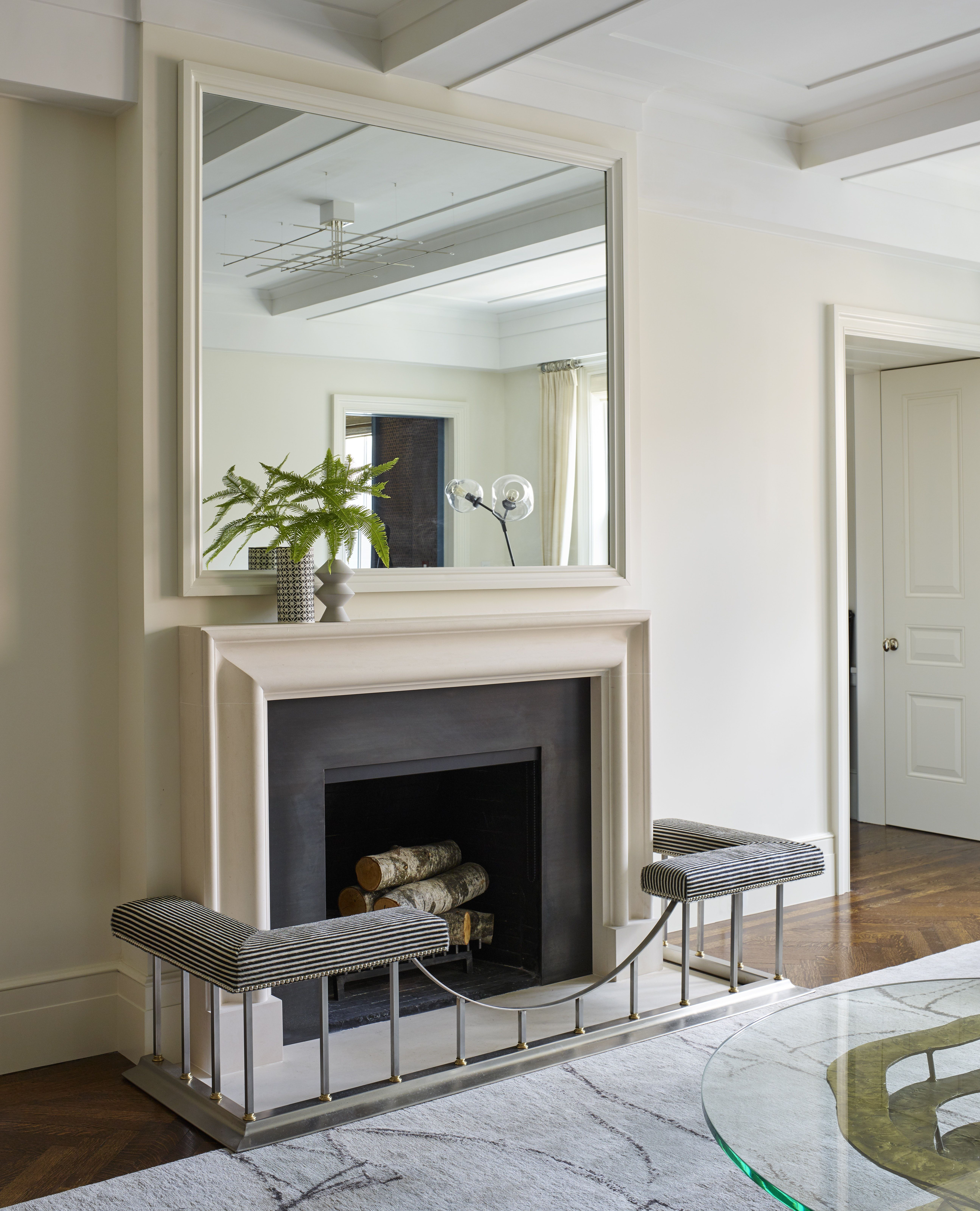 West Side Apartment White Fireplace Surround Living Room White