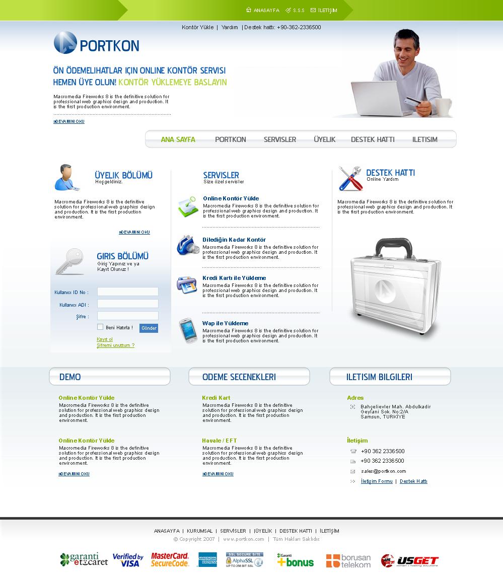 Portkon | Online Kontör Satış Sitesi - web design çalışması