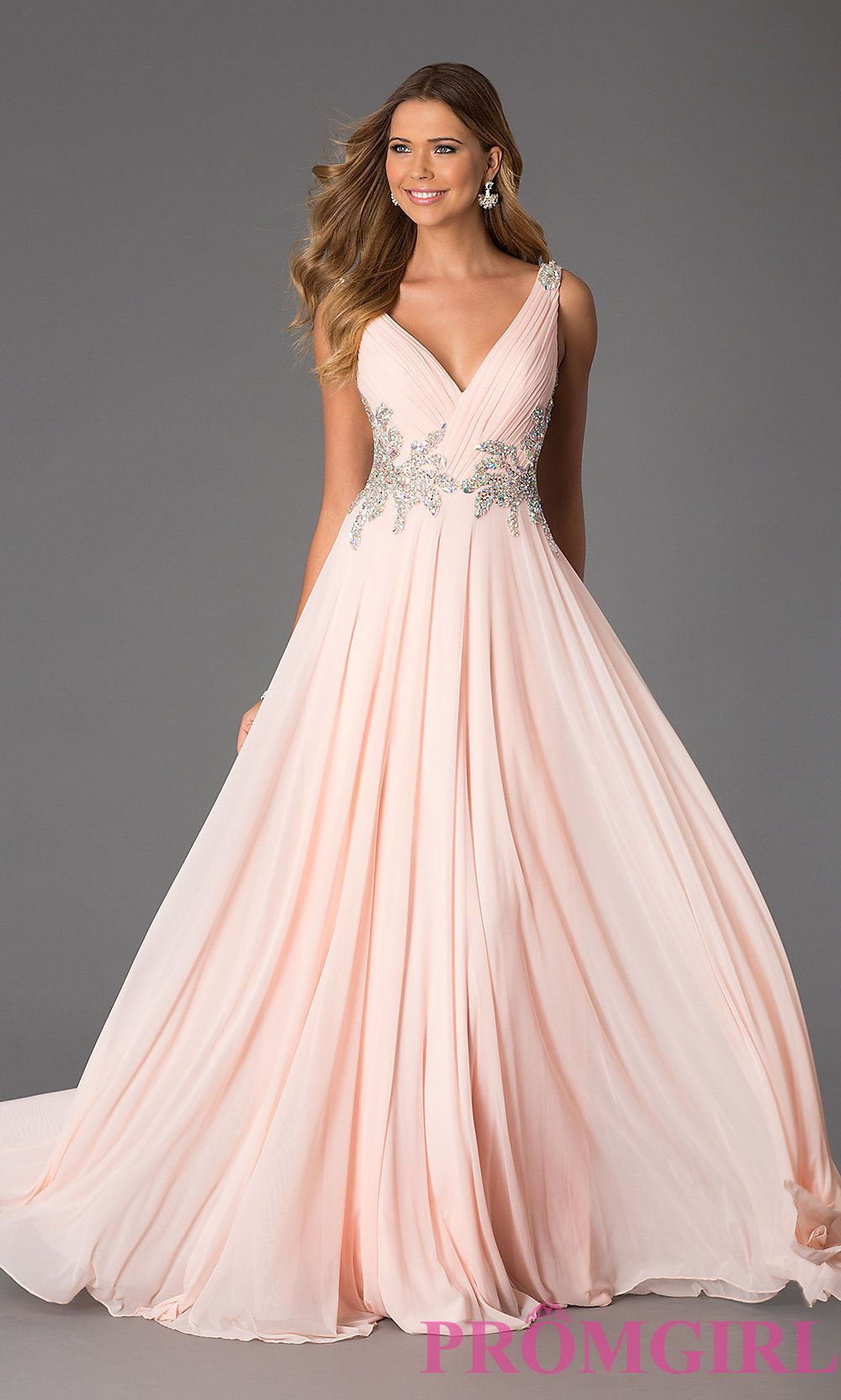 Image of Sleeveless Long V-Neck Gown JVN by Jovani Style: JO-JVN ...