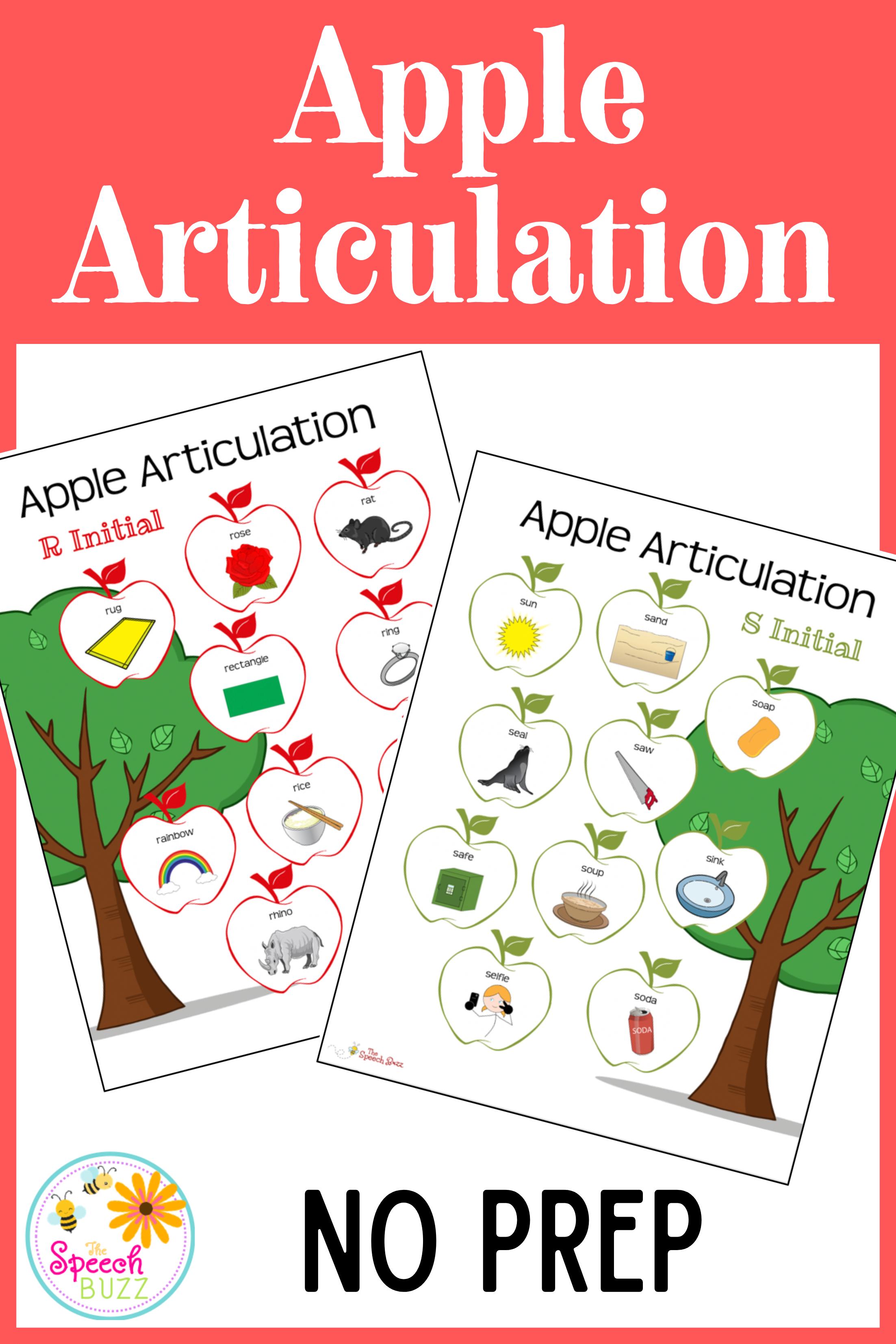 Apple Articulation No Prep Articulation Worksheets Get