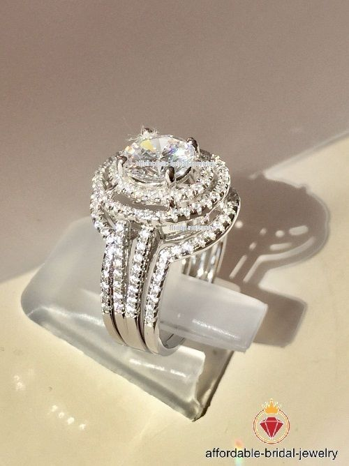 Lab Created Diamond Engagement Wedding 3pcs Bridal Ring Set 14k White Gold 2 Ct Bridal Ring Sets White Gold Lab Created Diamonds Engagement Bridal Ring Set
