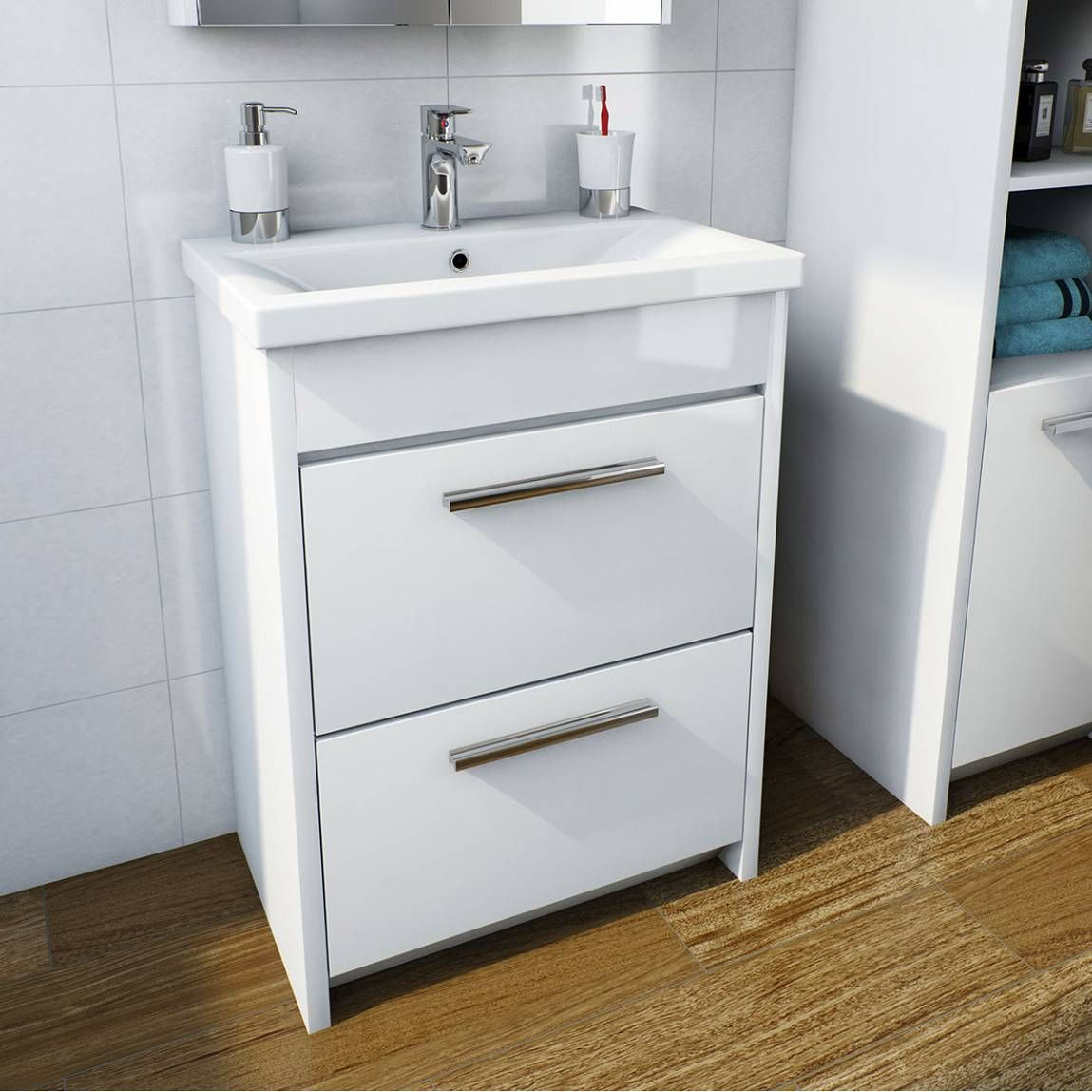 Clarity White Floorstanding Vanity Unit And Ceramic Basin 510mm In