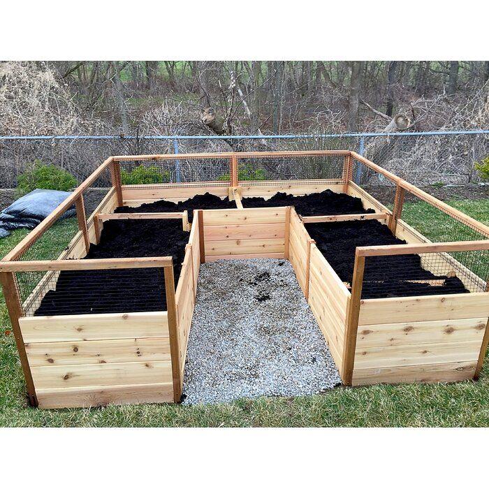 8 ft x 8 ft Wood Raised Garden Bed in 2020 | Cedar raised ...