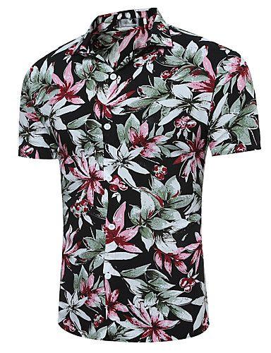 5ae6262bc Masculino Camisa Social Casual Temática AsiáticaQuadriculada Algodão  Colarinho Clássico Manga Curta de 5955784 2017 por R 32