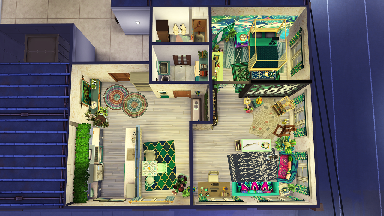 Avelinesims Artsy Apartment Do You Like Blue Green Purple Sims House Sims House Design Sims 4 House Design