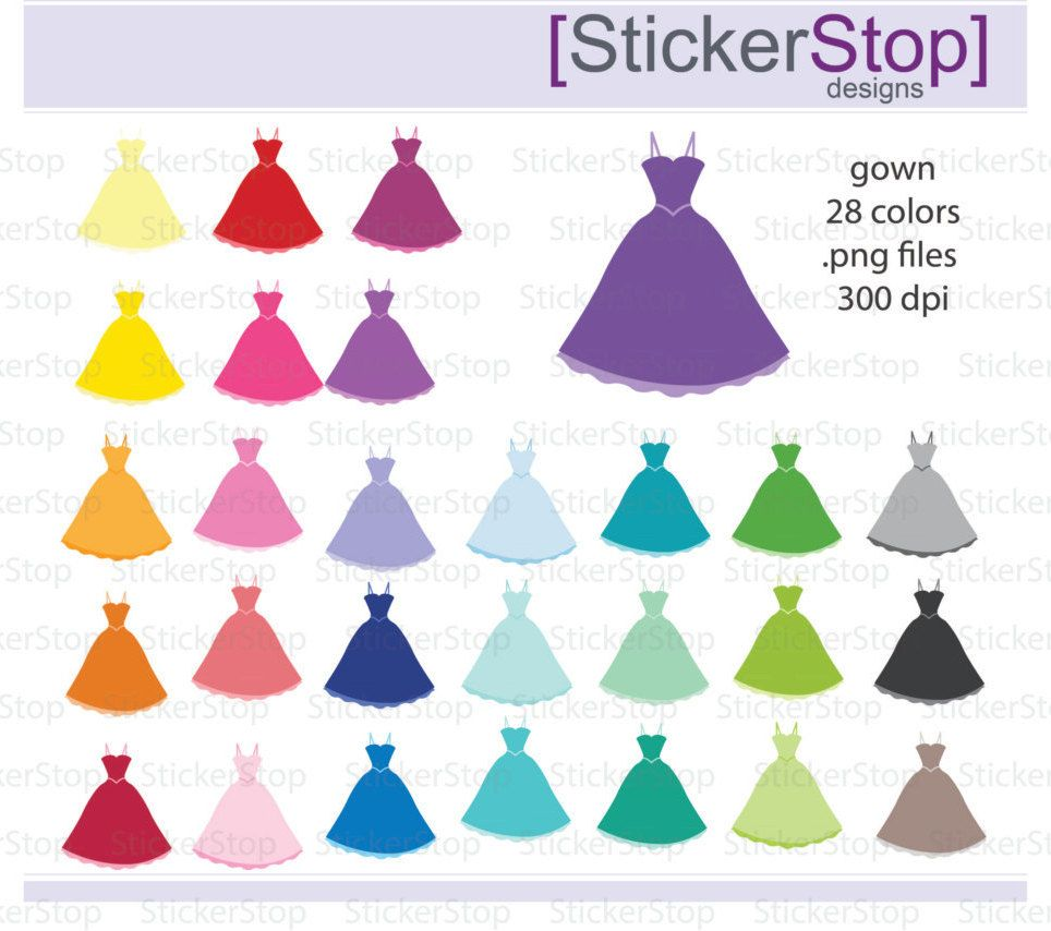 Gown Prom Dress Clipart 28 colors, PNG Digital Clipart - Instant ...