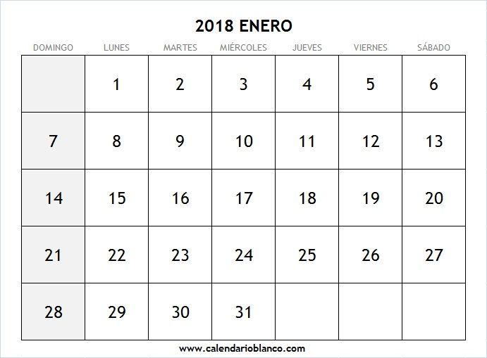 Calendario En Blanco Enero 2018