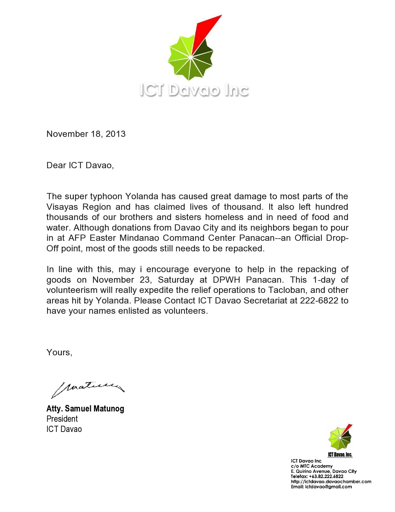 Ictdavao Volunteer Workvolunteer Letter Template Application Letter
