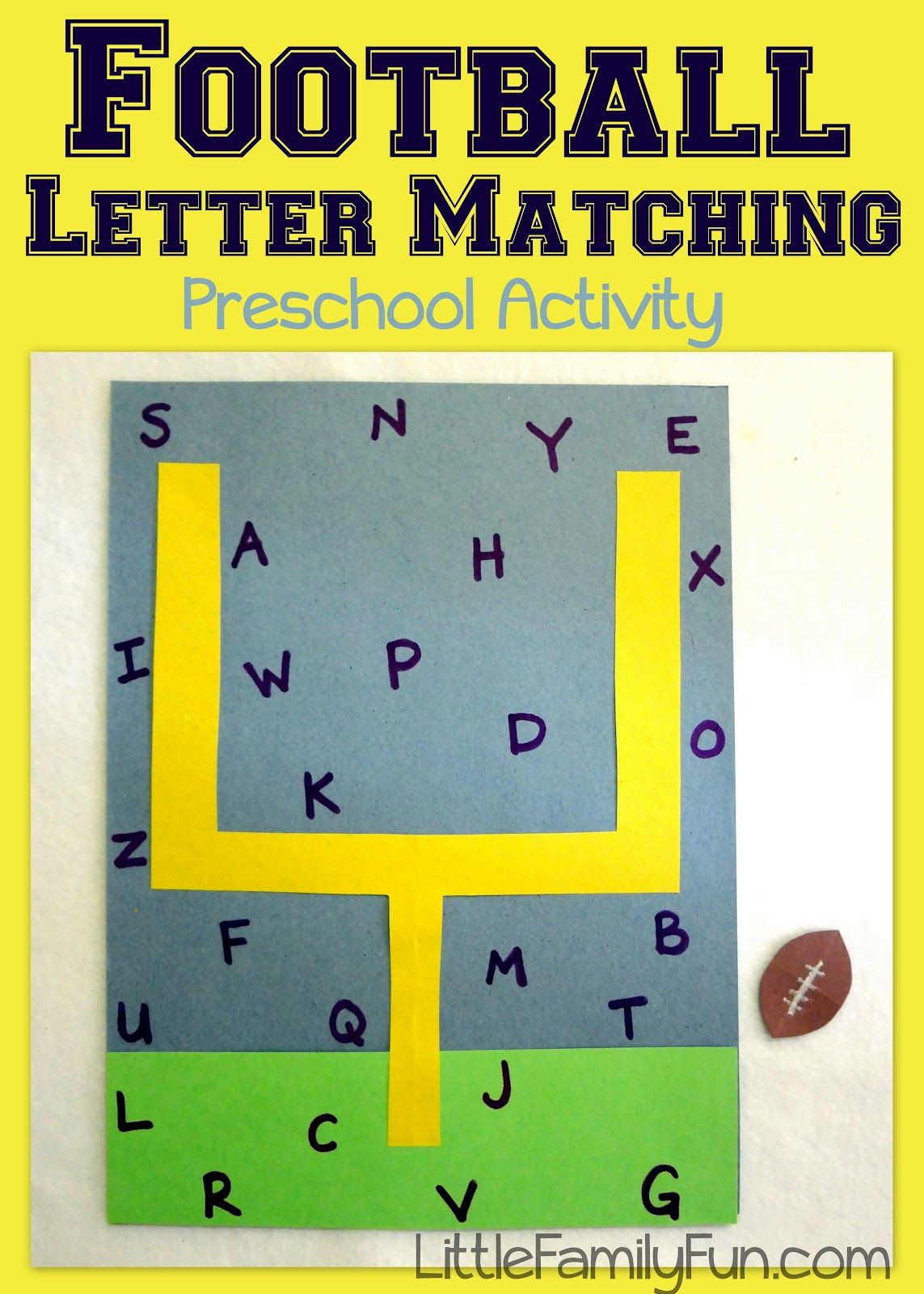 Little Family Fun Football Letter Game  Preschool Letters