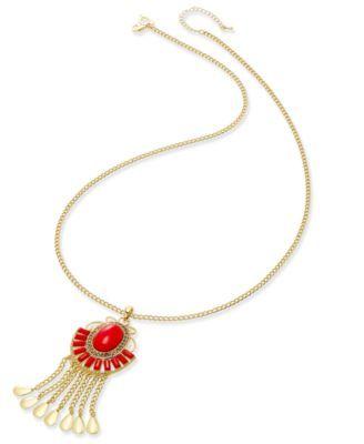 Thalia Sodi Gold-Tone Red Stone Fringe Pendant Necklace, Only at Macy's