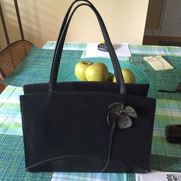 Black purse Ann Taylor pre-loved Linen and leather black purse the measurements are 13H x 10W x 4 Depth a few scratches not too noticeable. Ann Taylor Bags
