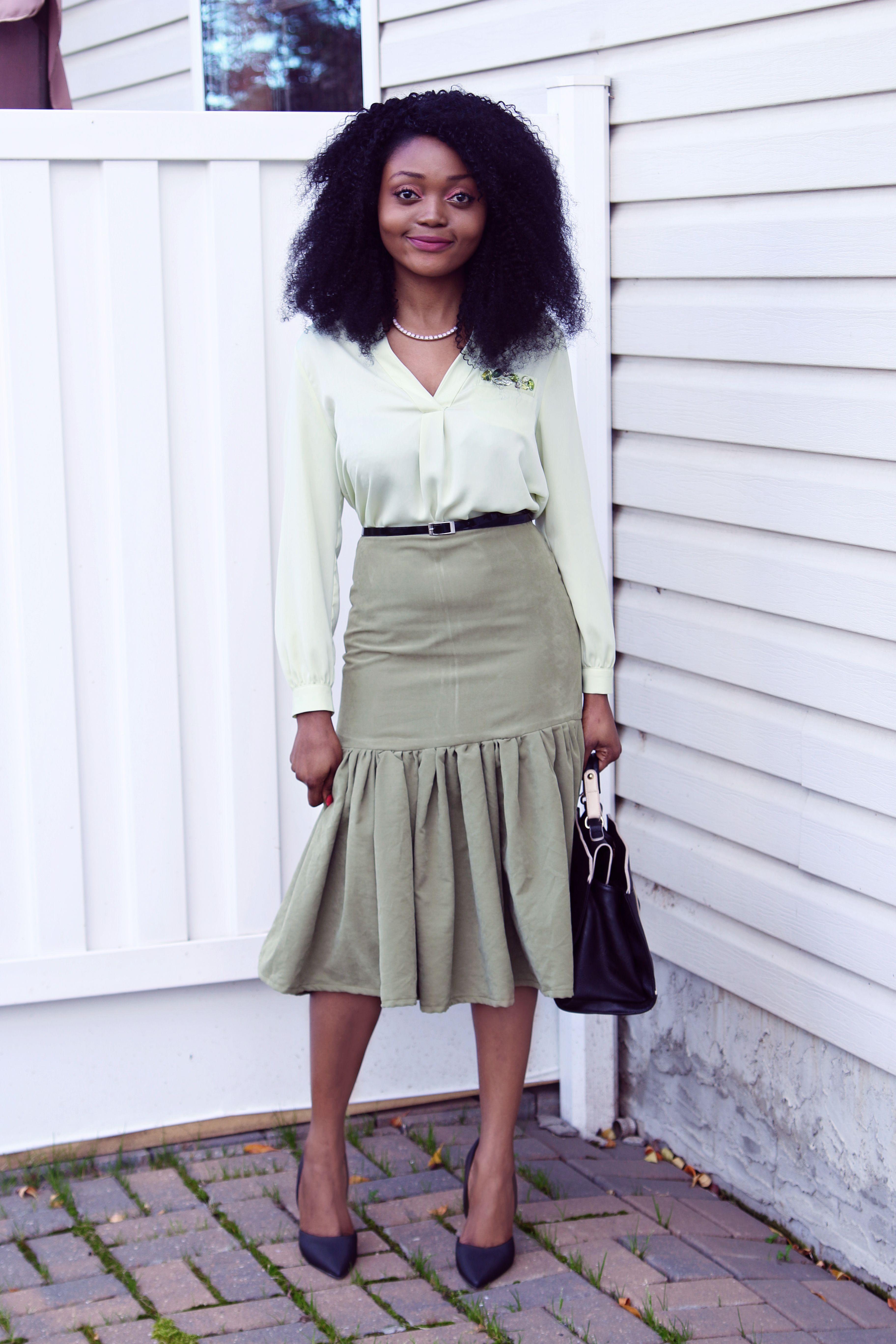 diy fashion: cappuccino green high waist yoke gather skirt