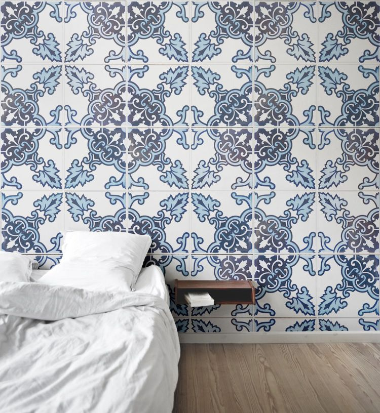 Blue And Black Portuguese Tile Wallpaper Bedrooms Pinterest - Tapete portugiesische fliesen