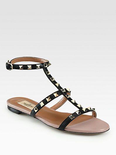 c2628940f585 Valentino - Rockstud Leather Gladiator Sandals - Saks.com