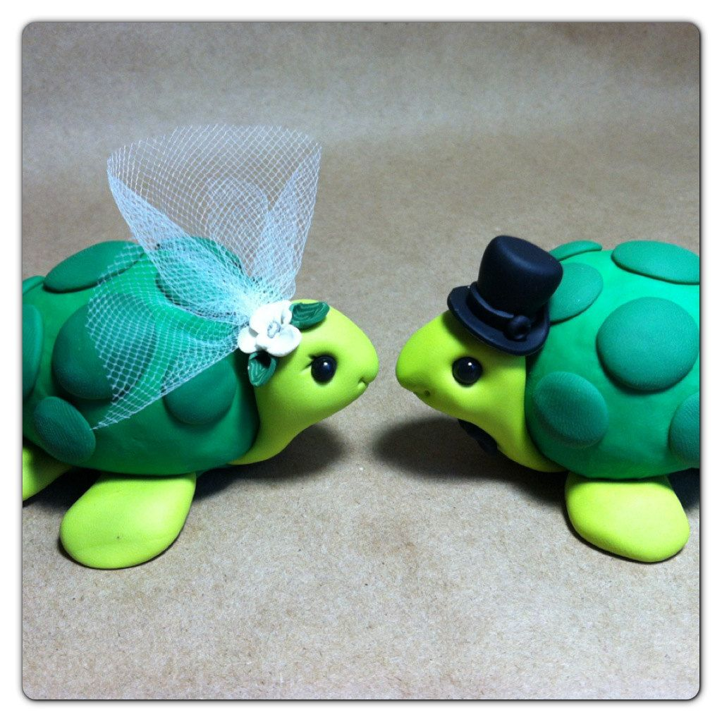 READY to SHIP Turtle Wedding Cake Topper Handmade   Turtle, Wedding ...
