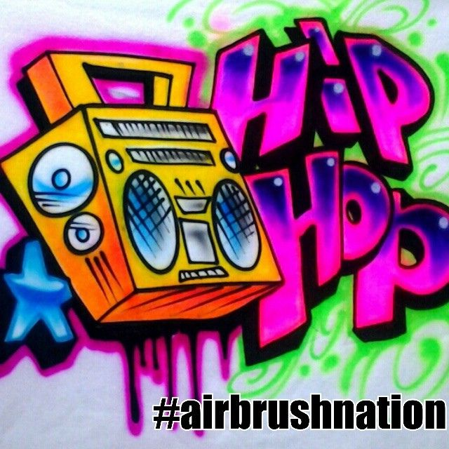 HIP HOP BOOMBOX 80S Airbrush SHIRT By Herby Nation Studio Compton CA Boombox HipHop 80s Airbrushnation Compto