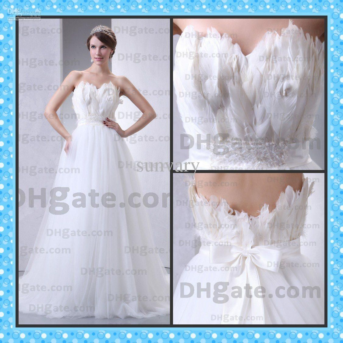 this one uses the feathers to create the impact on the bodice and leaves the skirt feather wedding dressesfeather dressbridal