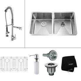 Kraus Kitchen Combo 19-in x 32.75-in Stainless Steel Double-Basin Undermount Kitchen Sink
