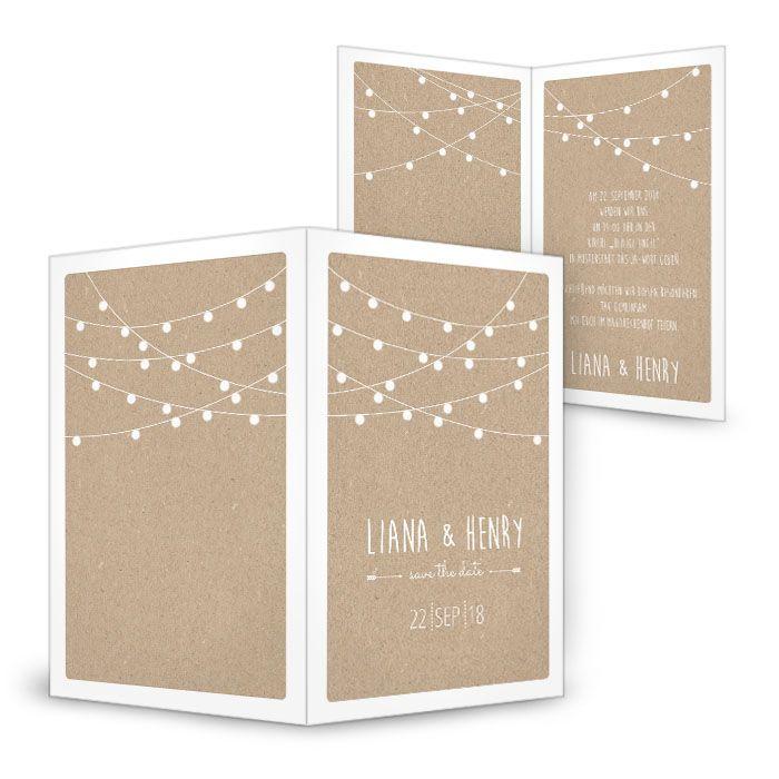 Gestalte Jetzt   Lampion Hochzeitseinladung Mit Lichterkette ❤ Packpapier  Look ❤ Schnell Und Einfach Zu Gestalten ❤ Grafik Und Produktion Im Haus
